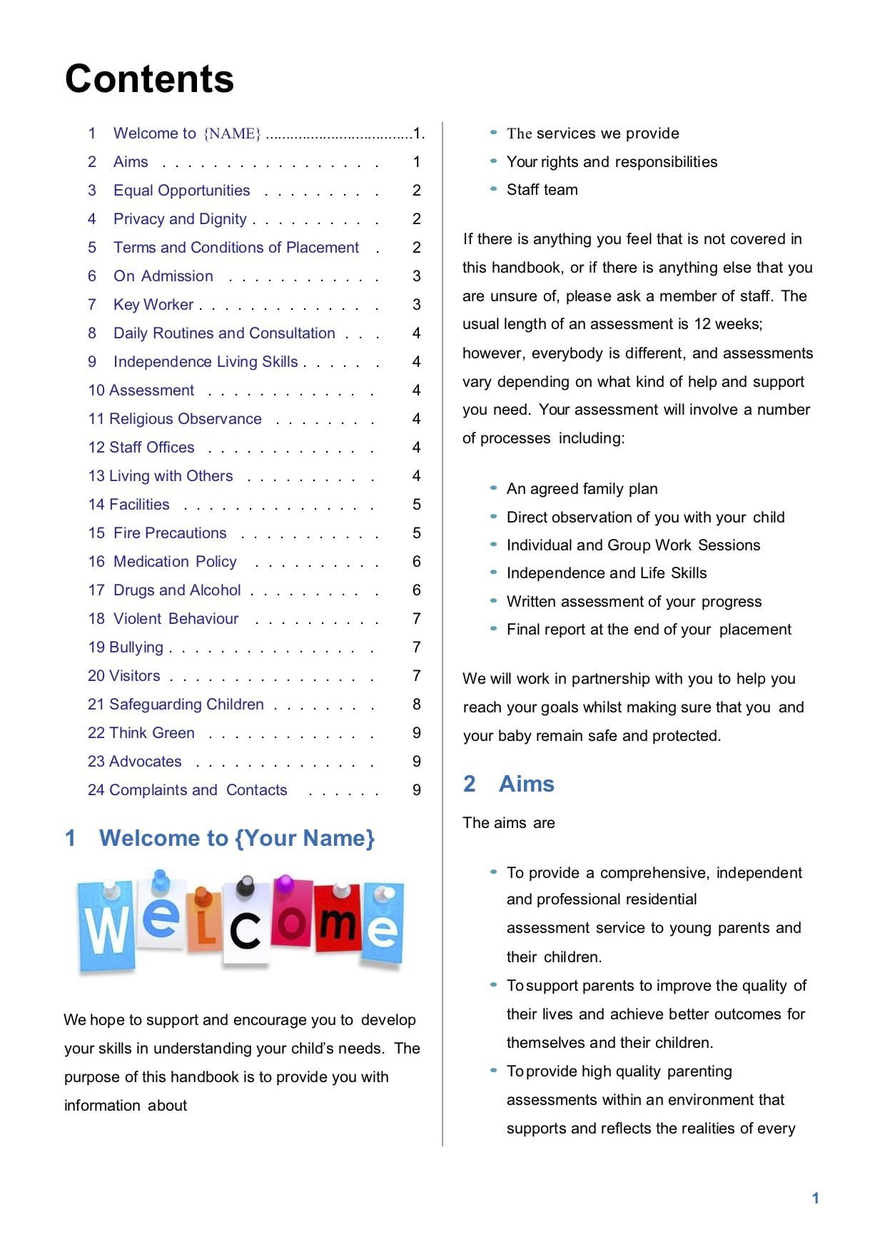 Residential Family Assessment Centre Parents Handbook